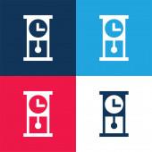 Starožitné Hodiny modré a červené čtyři barvy minimální ikona nastavena