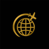 Airplane Flight In Circle Around Earth gold plated metalic icon or logo vector