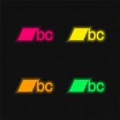 BC logo čtyři barvy zářící neonový vektor ikona