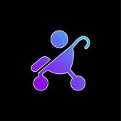 Baby auf Kinderwagen Seitenansicht Silhouette blaues Gradientenvektorsymbol