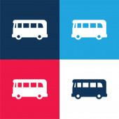 Airport Bus kék és piros négy szín minimális ikon készlet