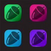 Acorn four color glass button icon