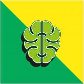Mozek Zelená a žlutá moderní 3D vektorové logo ikony
