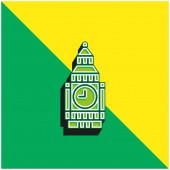 Big Ben Green és sárga modern 3D vektor ikon logó
