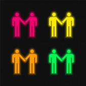 Vereinbarung vier Farben leuchtenden Neon-Vektor-Symbol