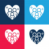Adoption blue and red four color minimal icon set