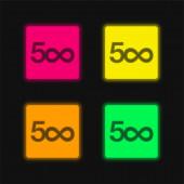 500px Logo čtyři barvy zářící neonový vektor ikona