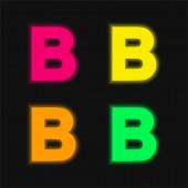 B vier Farben leuchtenden Neon-Vektor-Symbol