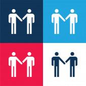Vereinbarung blau und rot vier Farben Minimalsymbolsatz