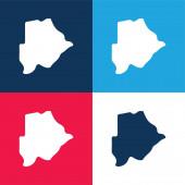 Botswana modrá a červená čtyři barvy minimální sada ikon