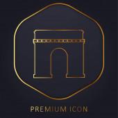 Arc De Triomphe golden line premium logo or icon