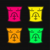 Abs čtyři barvy zářící neonový vektor ikona