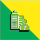 Boss Zöld és sárga modern 3D vektor ikon logó