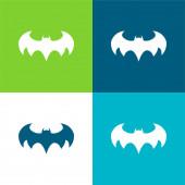 Batman logó Lapos négy szín minimális ikon készlet