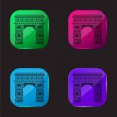 Arc De Triomphe čtyři barevné tlačítko ikona