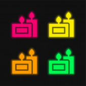 Aromatic Candle four color glowing neon vector icon