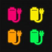 Akkumulátor négy színű izzó neon vektor ikon