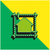 Blaupause Grünes und gelbes modernes 3D-Vektorsymbol-Logo