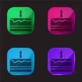 Narozeninový dort čtyři barvy skleněné tlačítko ikona