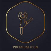 Ballerina Pose zlatá čára prémie logo nebo ikona
