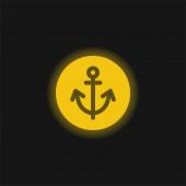 Anker gelb glühendes Neon-Symbol