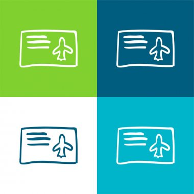 Airplane Ticket Hand Drawn Paper Flat four color minimal icon set stock vector