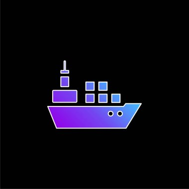 Boat With Containers blue gradient vector icon stock vector
