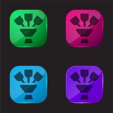 Bouquet four color glass button icon stock vector