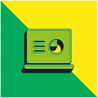 Analytics Green and yellow modern 3d vector icon logo stock vector
