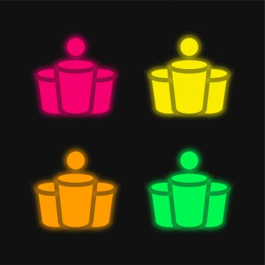 Beer Pong four color glowing neon vector icon stock vector