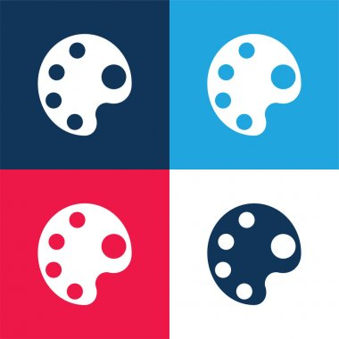 Big Paint Palette blue and red four color minimal icon set stock vector