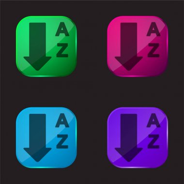 Alphabetical Order From A To Z four color glass button icon
