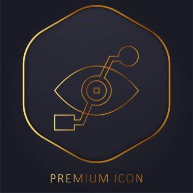 Bionic Eye golden line premium logo or icon