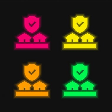 Auction four color glowing neon vector icon stock vector