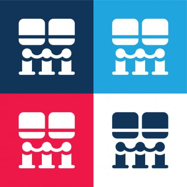 Art Museum blue and red four color minimal icon set stock vector