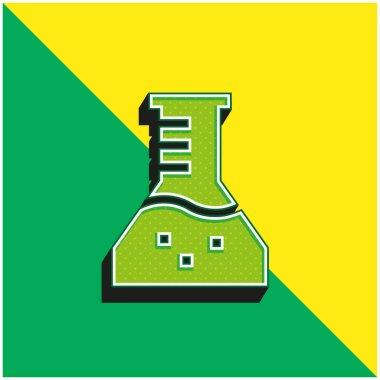 Beaker Green and yellow modern 3d vector icon logo stock vector
