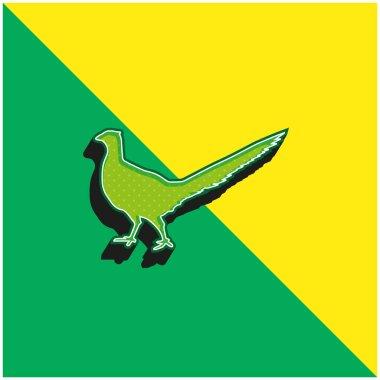 Bird Peasant Animal Shape Green and yellow modern 3d vector icon logo stock vector