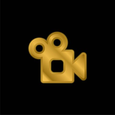 Analogic Video Camera gold plated metalic icon or logo vector stock vector
