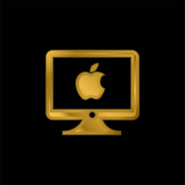 Apple Monitor gold plated metalic icon or logo vector stock vector