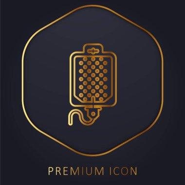 Blood Transfusion golden line premium logo or icon