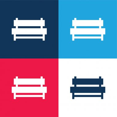 Bench blue and red four color minimal icon set stock vector