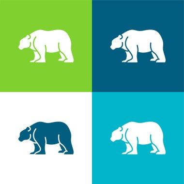 Bear Flat four color minimal icon set stock vector
