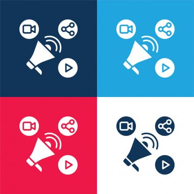 Advertising blue and red four color minimal icon set stock vector