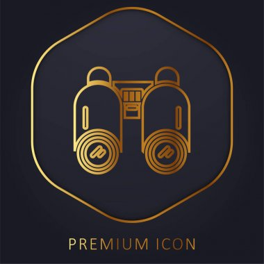 Binoculars golden line premium logo or icon stock vector