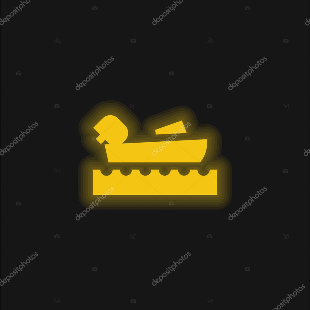 Nautica giallo brillante icona al neon