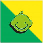 Baby Boy Grünes und gelbes modernes 3D-Vektor-Symbol-Logo