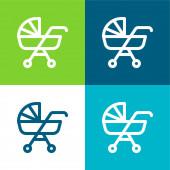 Dětský kočárek Byt čtyři barvy minimální ikona nastavena
