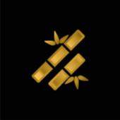 Bamboo Sticks Spa Ornament vergoldet metallisches Symbol oder Logo-Vektor