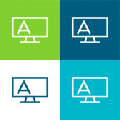 Blackboard Outline With Stand And Letter A Flat four color minimal icon set