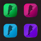 Argentina four color glass button icon